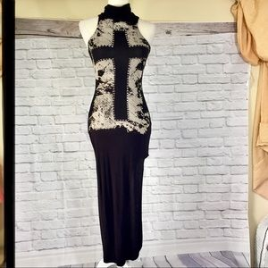 Poetry black studded cross graphic slit maxi dress